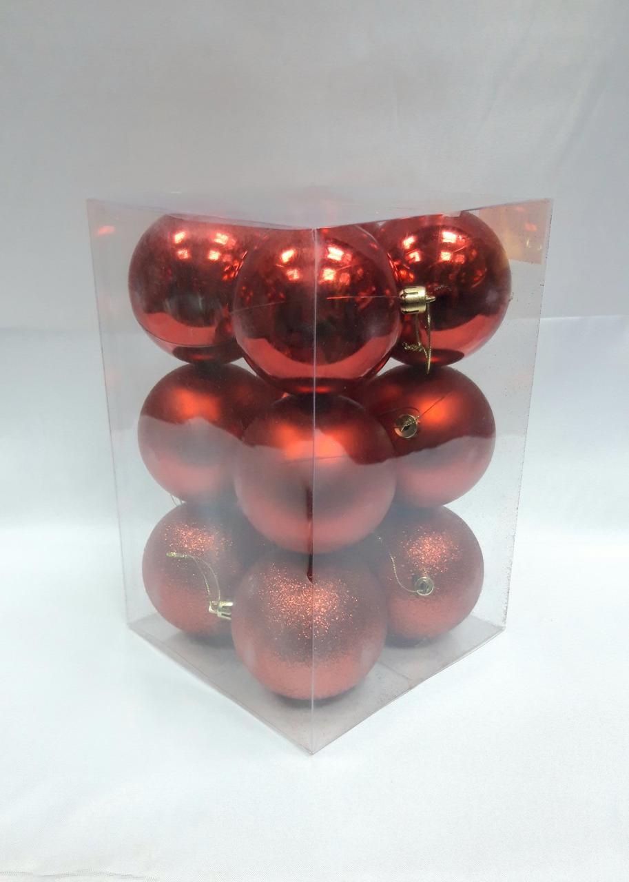 Елочные шары 12 штук в упаковке 8 см диаметр красного цвета