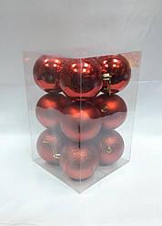 Ялинкові кулі 12 штук в упаковці 8 см діаметр червоного кольору