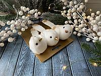 Набор декоративных птиц на прищепке меховых, 3 шт/уп., 13 см с серебром