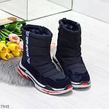 Темно синие повседневные женские ботинки дутики зима 2020-2021, фото 2