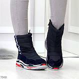 Темно синие повседневные женские ботинки дутики зима 2020-2021, фото 3
