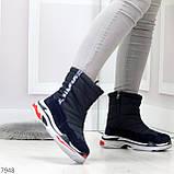 Темно синие повседневные женские ботинки дутики зима 2020-2021, фото 4