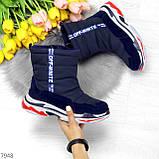 Темно синие повседневные женские ботинки дутики зима 2020-2021, фото 5