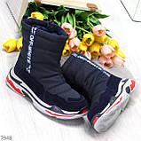 Темно синие повседневные женские ботинки дутики зима 2020-2021, фото 6