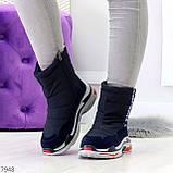 Темно синие повседневные женские ботинки дутики зима 2020-2021, фото 8