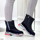 Темно синие повседневные женские ботинки дутики зима 2020-2021, фото 10