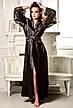 Атласный комплект длинный халат с коротким пеньюаром Черный, фото 5