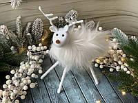 Новорічний декор олень хутро маленький 20 см, фото 1