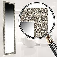Зеркало в раме настенное в салон офис для дома в прихожую спальню коридор Steel ripples 45х169 см сталь