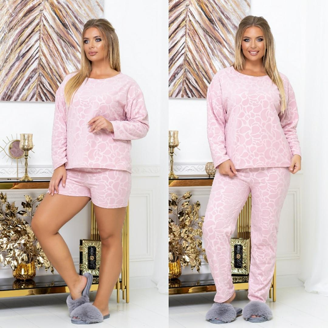 Пижама женская большие размеры набор тройка :кофта+штаны+шорты