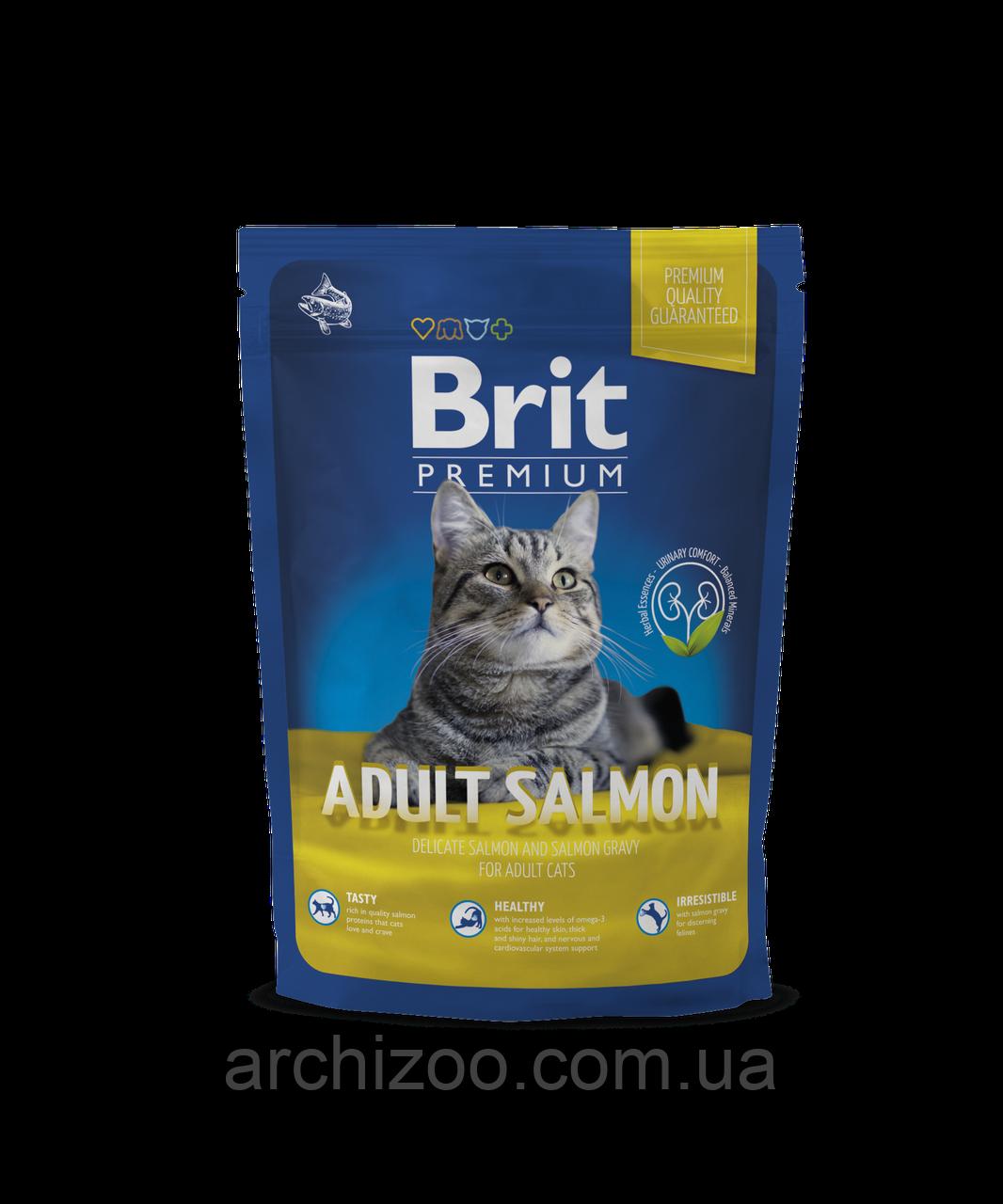 Brit Premium Cat Adult Salmon корм для взрослых кошек с лососем, 300 г