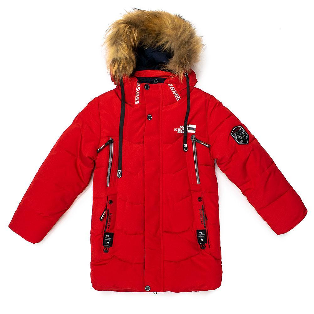 Пальто зимнее для мальчиков Wk 104  красное 981289