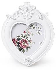 "Фоторамка Sweet White ""Белая Лилия"" форма сердца 12.7х10.3см"