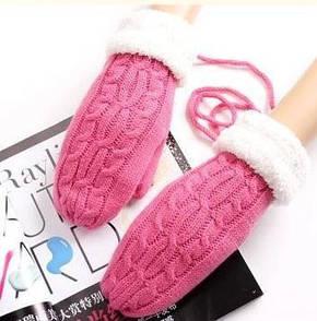 Яскраві теплі в'язані рукавиці
