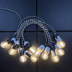 Ретро гирлянда для помещений Alphatrade, 5 метров 10 филаментных LED ламп, белая с LED лампами, 6, Зебра
