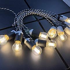 Ретро гирлянда для помещений Alphatrade, 10 метров 20 филаментных LED ламп, зебра