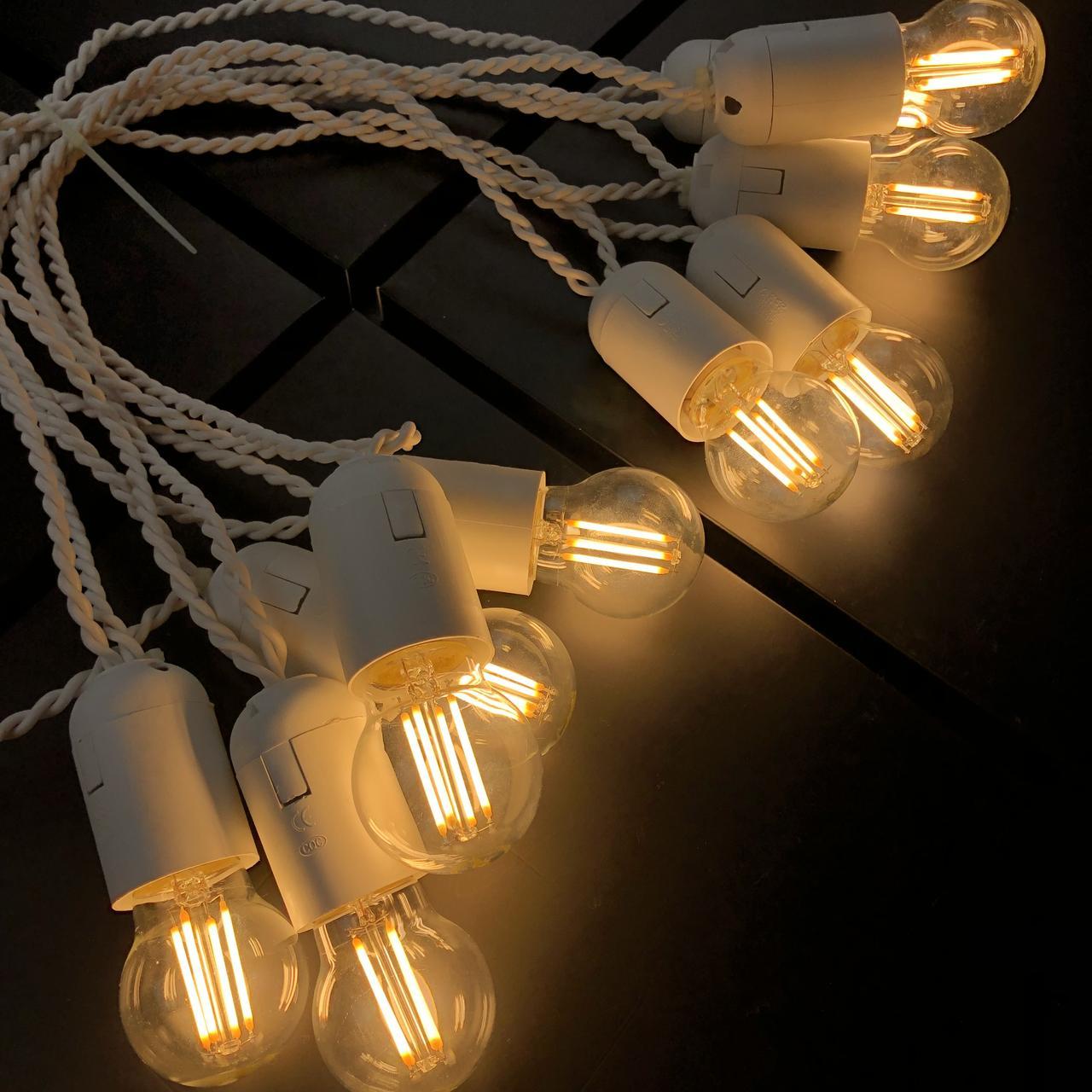 Ретро гирлянда для помещений Alphatrade, 15 метров 30 филаментных LED ламп, белая