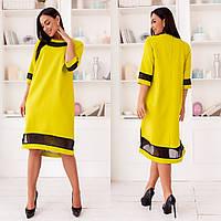 Платье женское стильное, ткань - шифон, креп-костюмка,свободное с шифоновыми вставками(42-58)