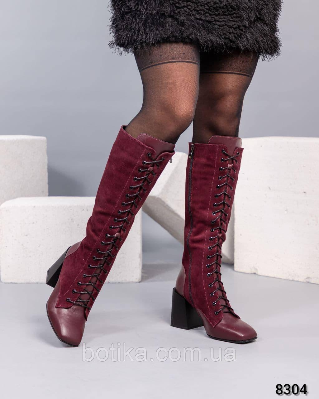 Стильні демісезонні чоботи на підборах ботфорти