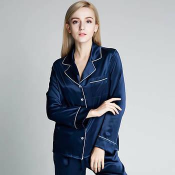 Пижама женская шелковая синяя. Комплект шелковый для дома, сна с длинным рукавом (размер XS S M L XL XXl)