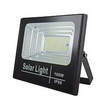 Светодиодный прожектор 100W на солнечной батарее с пультом. Фонарь солнечный 6500К, фото 3