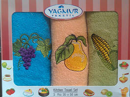 Набор махровых кухонных полотенец с вышевкой Yagmur 3 шт 30х50 см