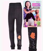 Детские термо лосины  на меху черные  с рисунком 11-14 лет, фото 1