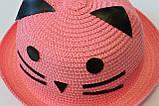 Красивая детская шляпа кошечка панама панамка, фото 3