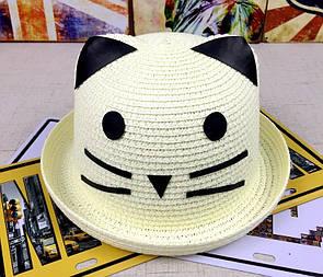 Красивая детская шляпа кошечка панама панамка