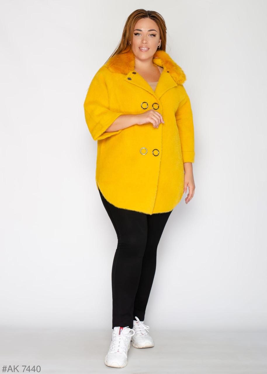 Ярко жёлтая женская куртка альпака 52-58 большемерит