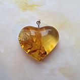 Кулон подвеска Сердце 100% натуральный Янтарь вес 10г, фото 2
