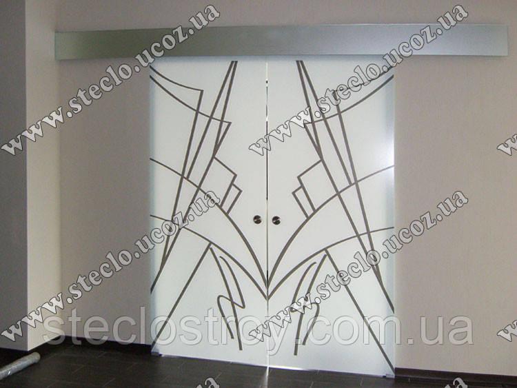 Стеклянные раздвижные двери с рисунком, фотопечатью