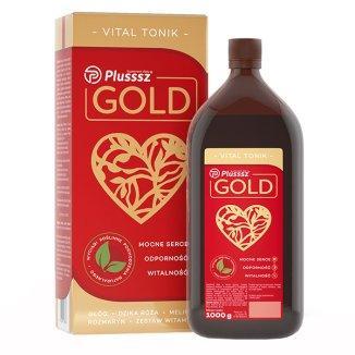 Plusssz Gold Vital Tonic витамины, экстракты шиповника, боярышника, мелиссы, розмарина  900 мл
