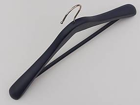 Довжина 44,5 см. Плічка вішалки тремпеля дерев'яні широкі чорно-синього кольору з антискользяшей поперечиною, фото 3