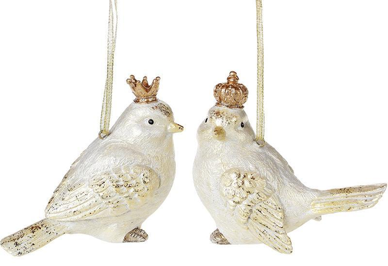 "Набор 2 подвески ""Королевские птички"" Gold 12х6х10см"