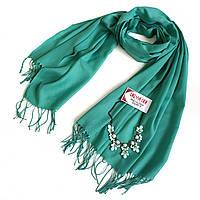 Комплект шарф-палантин широкий женский 70% коттон (хлопок) и массивное колье