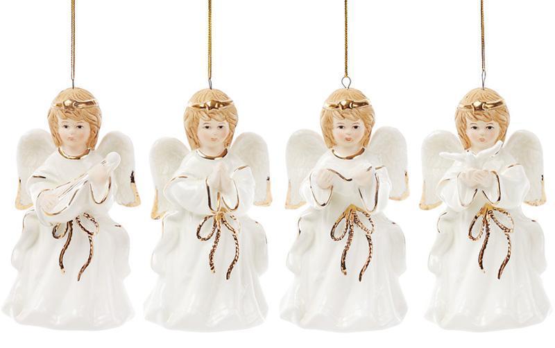 """Набор 4 декоративные подвески """"Волшебный Ангел"""", 6.2х5.7х11см, фарфор"""