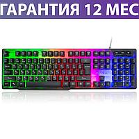 Игровая клавиатура с подсветкой Vinga KB414 USB черная, геймерская светящаяся клава с подсветкой клавиш