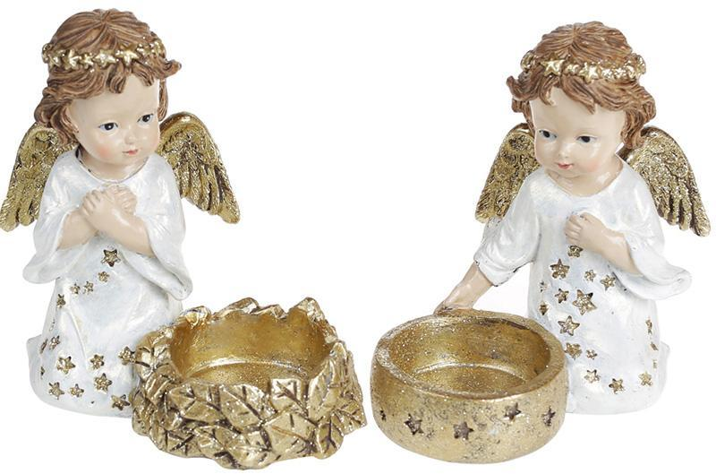 """Набор 2 декоративных подсвечника """"Звездный Ангел"""" Золото 11х6х10.5см, полистоун"""