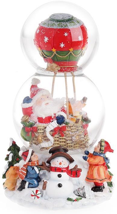 """Декоративный водяной шар """"Санта воздушном шаре"""" 20.5см, музыкальный"""
