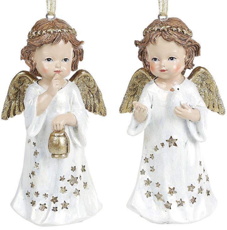"""Набор 2 декоративные подвески """"Звездный Ангел"""" Золото 7х5.5х13см, полистоун"""