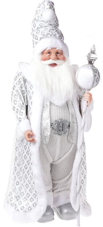 """Фигура """"Санта с посохом"""" 71см, серебро"""