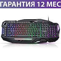 Игровая клавиатура с подсветкой Vinga KBG417 USB черная, геймерская светящаяся клава с подсветкой клавиш