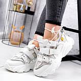 Кроссовки женские Giles белые с серым ЗИМА 2479, фото 5