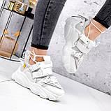 Кроссовки женские Giles белые с серым ЗИМА 2479, фото 4