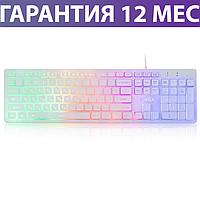 Клавиатура с подсветкой Vinga KB410 USB белая, светящаяся клава с подсветкой клавиш