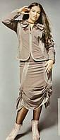 Костюм шоколадного цвета  батал с эффектной юбкой Giani Forte