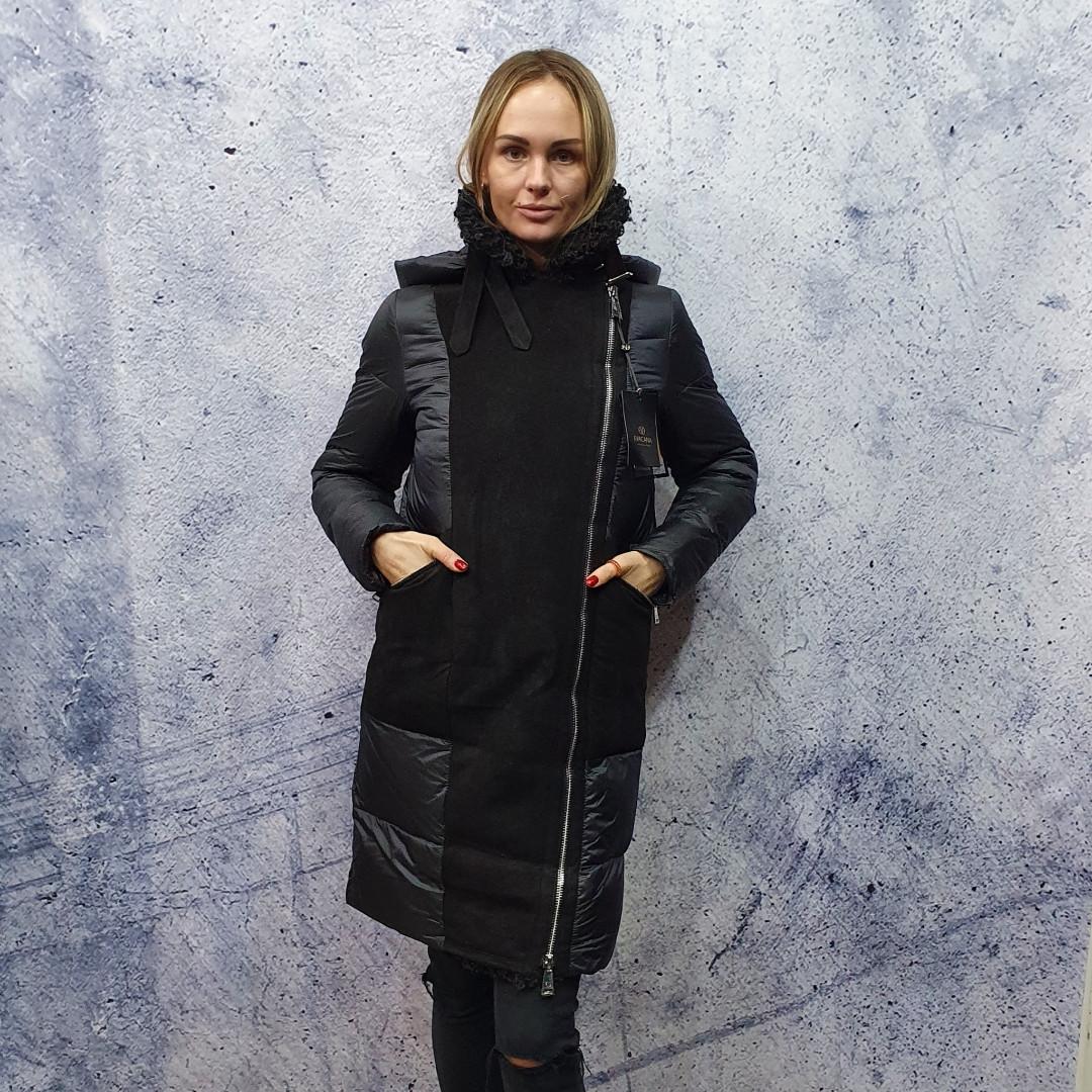 Жіночий пуховик Evacana E20-W014M. Жіноча довга куртка з хутром Лами.