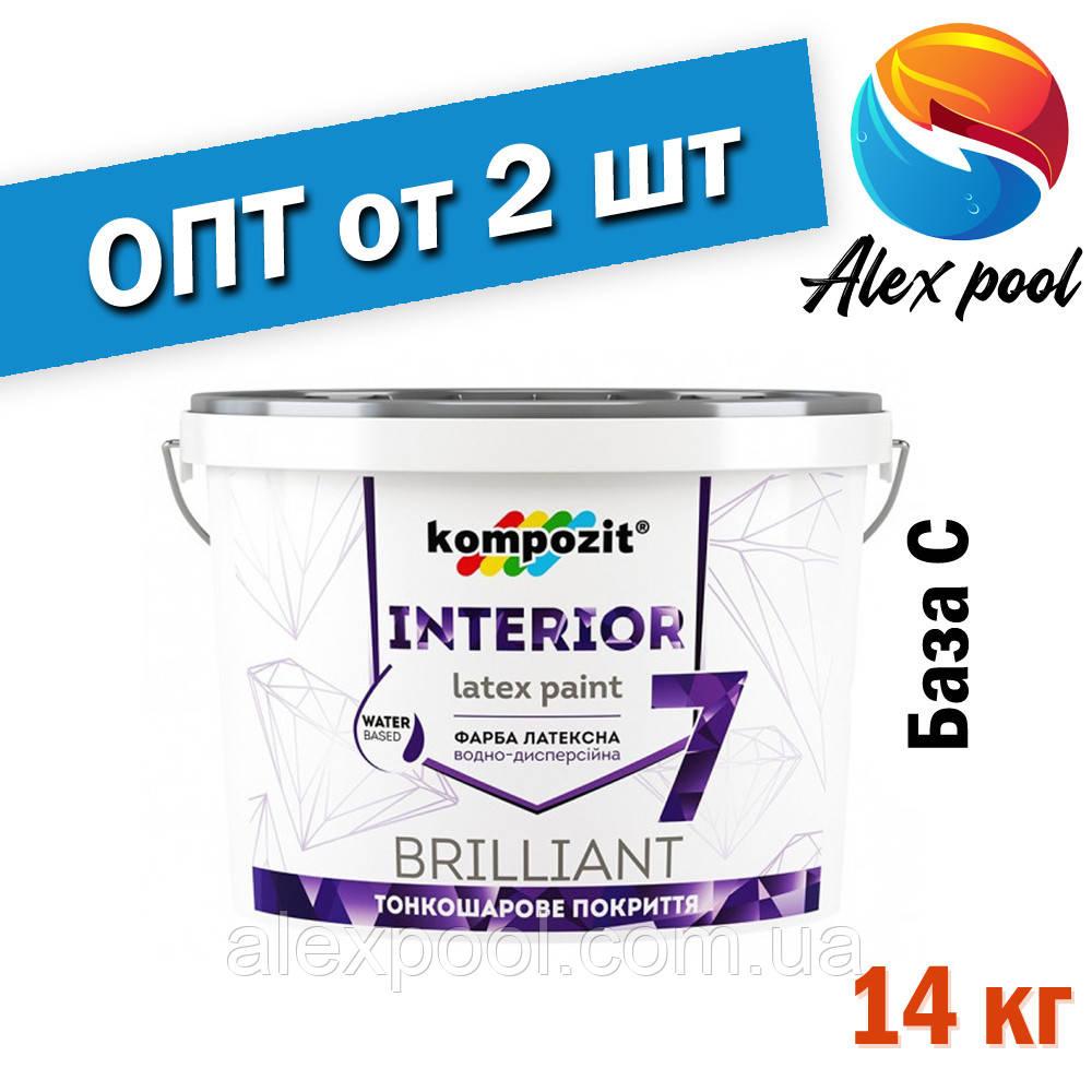 Kompozit INTERIOR 7 Краска интерьерная База С 14 кг - тонкослойная латексная краска для стен и потолков