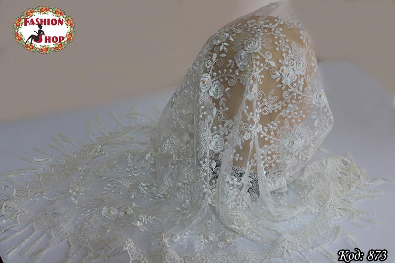 Свадебный кремовый платок со стразами Николь
